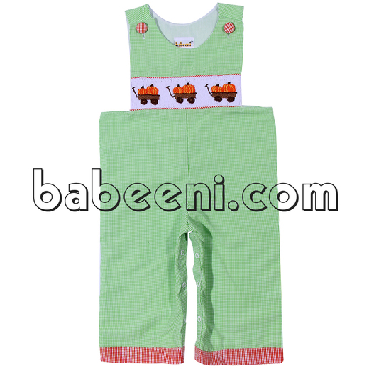 Exquisite pumpkin truck smocked longalls for boys- BC 666