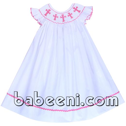White smocked bishop dress for Easter - DR 2220