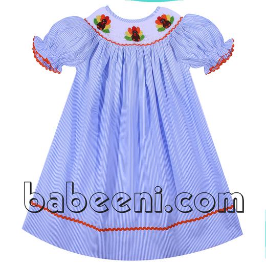 Lovely turkey hand smocked dress for little girl - DR 2241