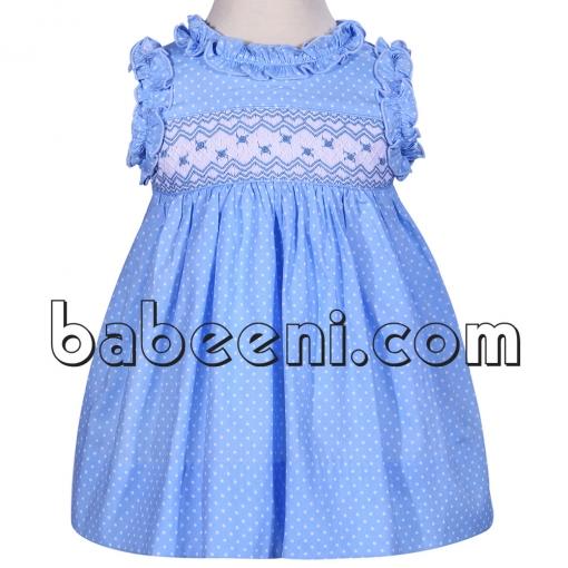 Nice blue geometric dress for little girls - DR 2259
