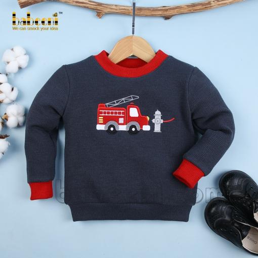 Fire Truck applique children cardigan - ST 089
