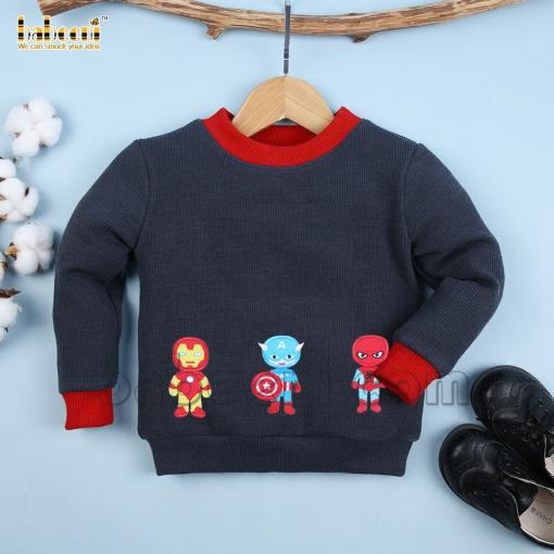 Superman applique children cardigan - ST 110