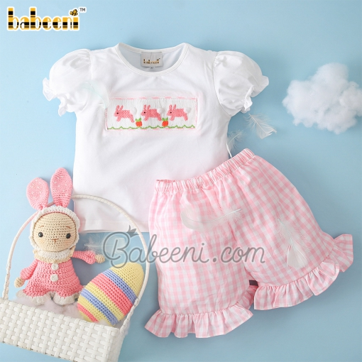 Lovely hand smocked bunny girl clothing – DR 3348