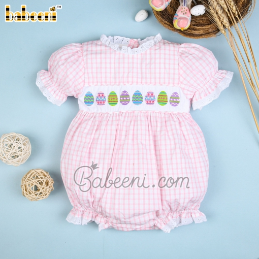 Baby girl bubble with colorful smocked eggs– DR 3349