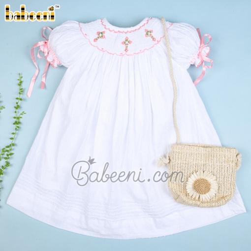 Smocked cross and flower baby white swiss dot dress – DR 3351