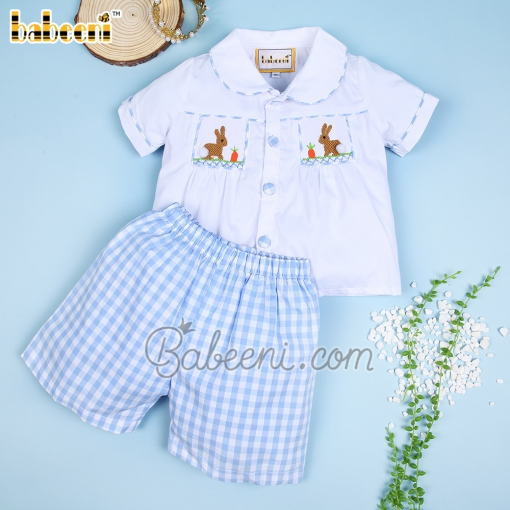 Easter bunny smocked boy outfit - BC 980