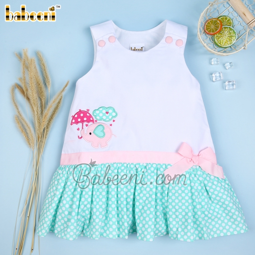A-line dress for girls with pink elephant appliqué- DR 2561