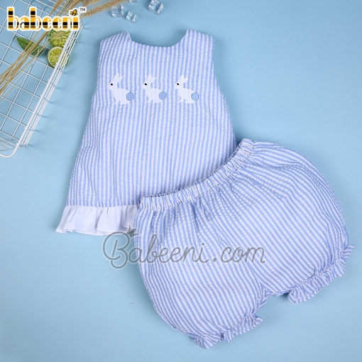 Lovely bunny girl striped set with bow - DR 3094