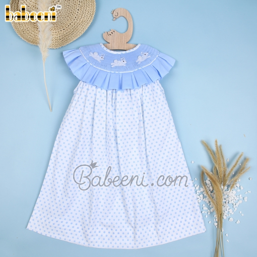 Hand smocked rabbit blue ruffle dotted white dress - DR 3358
