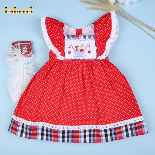 Gorgeous red dress for girls with hand-smocked valentine boat- DR 2560