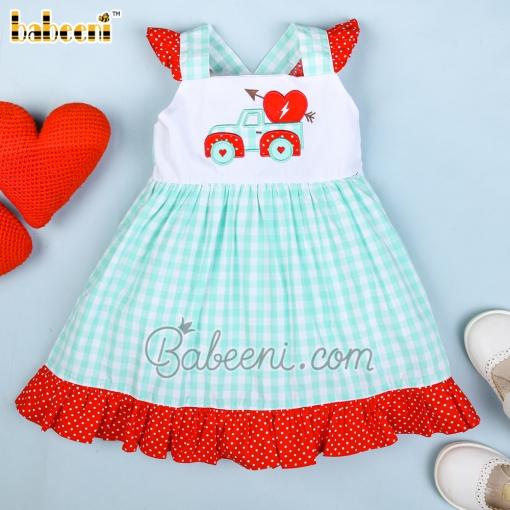 Adorable mint yoke dress with valentine car appliqué -DR 2565