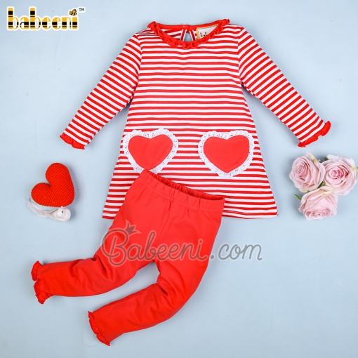 Red heart striped girl set - DR 3076